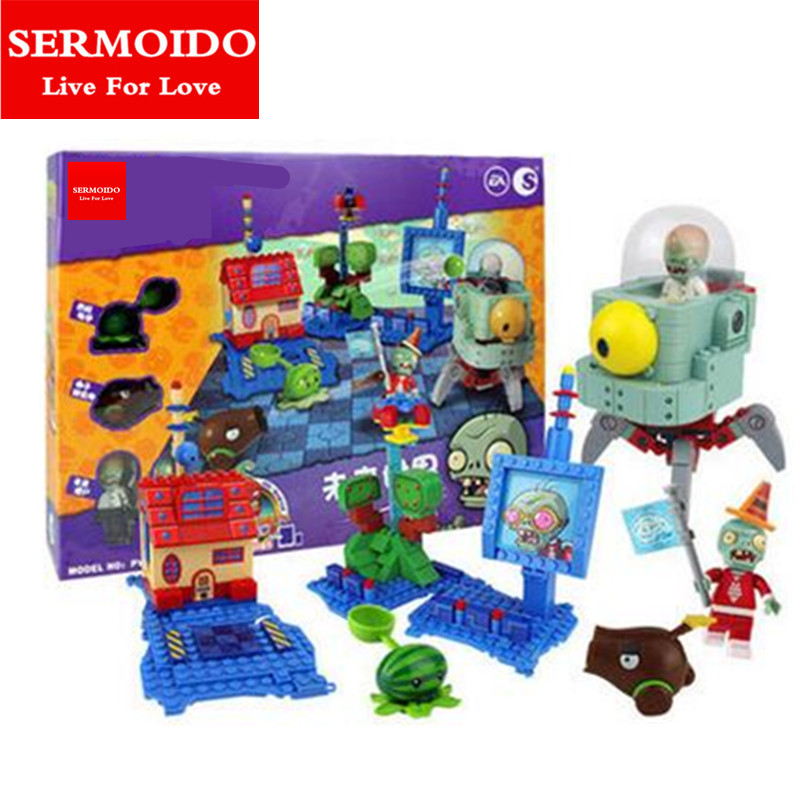 SERMOIDO Plants Vs Zombies Garden Maze Struck Game Action Toy & Figures Anime Figure Building Blocks Bricks Brinquedos Toys B13 electronic arts plants vs zombies garden warfare xbox one русская документация