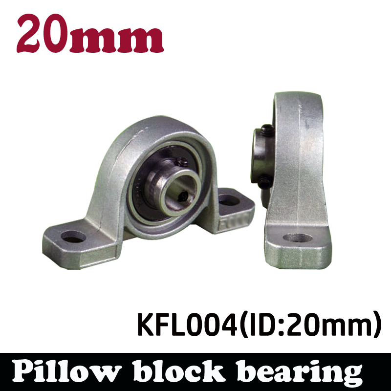 купить 2pcs KP004 20mm pillow block bearing zinc alloy insert linear bearing shaft support CNC part по цене 804.41 рублей
