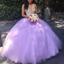 Luxury Lilac Ball Gown Quinceanera Dresses Beaded Sweet Formal Prom Party
