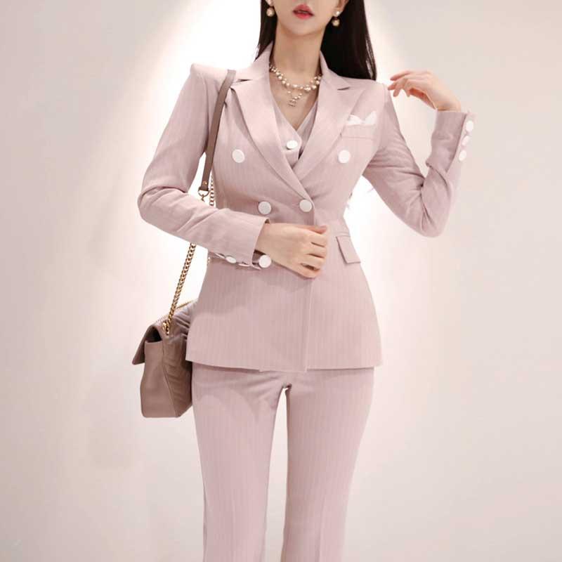 2019 formel trois pièces ensemble femmes pantalon costumes col cranté rayé Blazer veste gilet pantalon poche costume de haute qualité S95506Z - 2