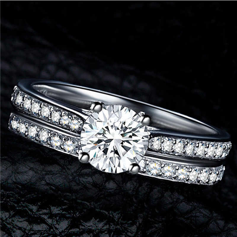 FUNIQUE 2019 Silver Color Crystal Ring Sets Women Exquisite Bijoux Wedding Engagement Cubic Zirconia Couple Ring Set Jewelry