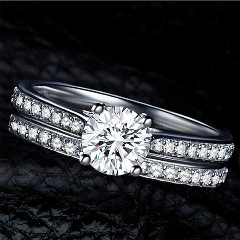 FUNIQUE 2019 серебряное цветное кристаллическое кольцо, набор для женщин, изысканное ювелирное изделие, свадебное обручальное кольцо с кубическим цирконием, парное кольцо, ювелирное изделие