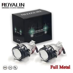 ROYALIN Bi Xenon Headlights Retrofit H1 Mini HID Projector Bulb Bixenon H4 H7 Auto Lamp 2.0 Lens Car Motorcycle Light Lenses 12V