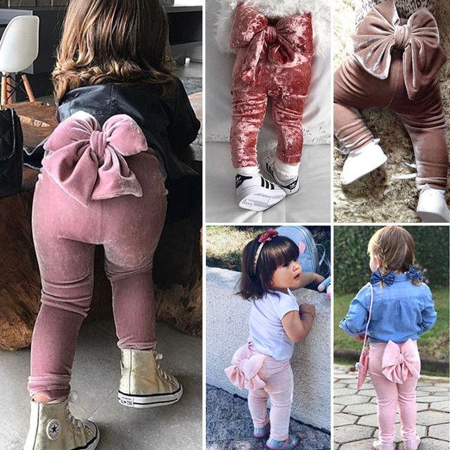 2018 Brand New Toddler Infant Child Kids Baby Girls Princess Bowknot Bottoms Pleuche Pants Leggings Trousers Cute Clothes 6M-5T