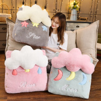 Pink/Grey/Blue Stuffed Triangle lumbar Soft Comfortable Waist Pillow TV Bed Pillow Unique Plush Cloud Star Moon Gift for gift