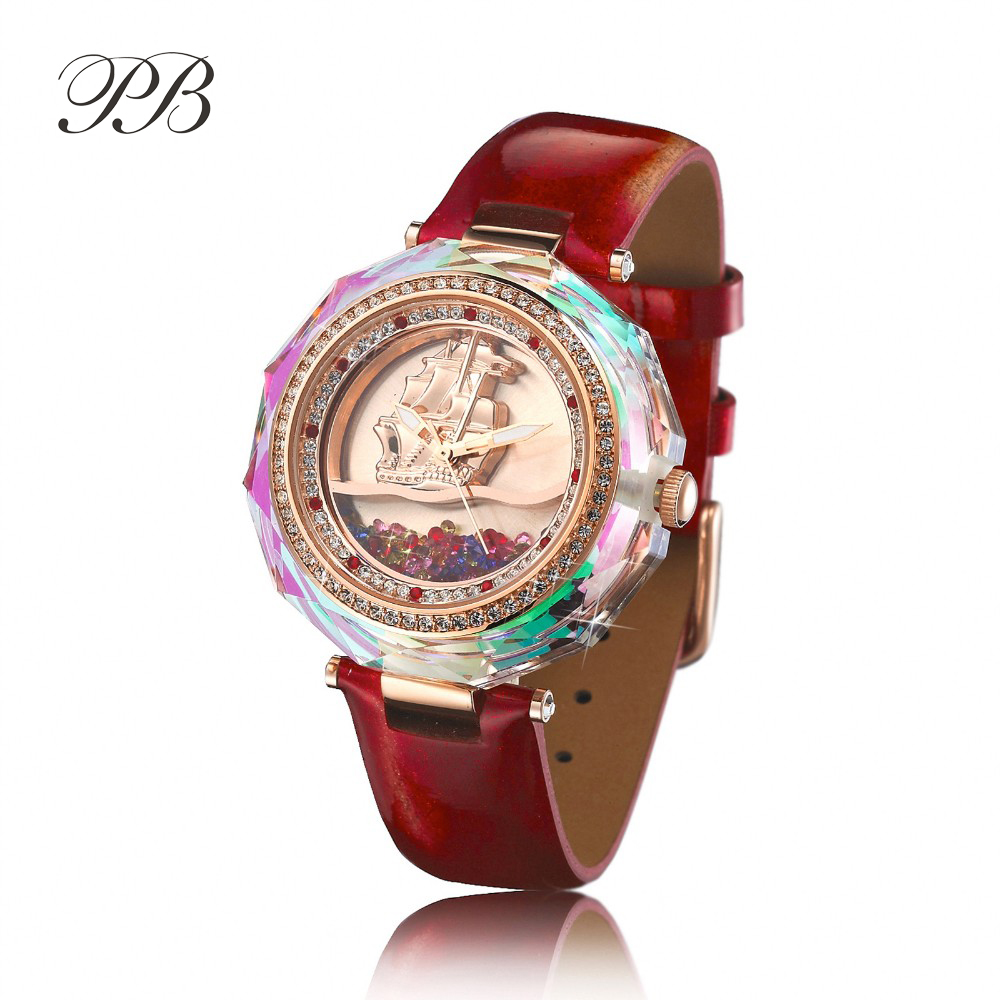 New Arrival PB Brand Princess Butterfly Austrian Crystal Sea Sailing Watch Classic Sailing Boat Luxury Diamond Rhinestone Watch new arrival famous bs brand bling diamond bracelet silver watch women luxury austrian crystal big watch rhinestone charm bangle