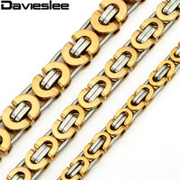 6mm Flat Byzantine Necklace Gold Silver Tone Stainless Steel Chain Mens Fashion Jewelry KN205