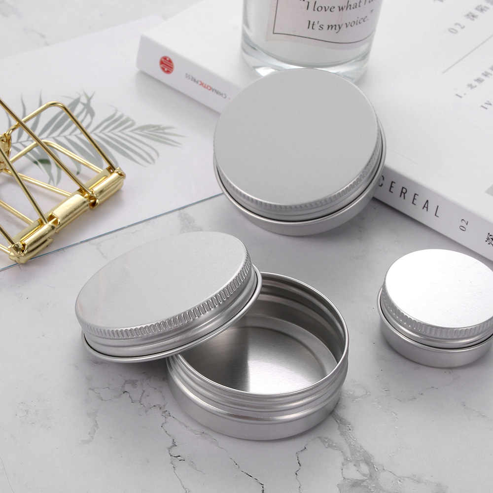 10/15/30/50/60/80ml Empty Aluminum Jars Refillable Cosmetic Pot Jar Upper Ointment Cream Sample Canisters Cap Makeup Oil Wax Box