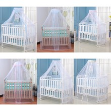 Baby Bed Mosquito Net Cover with Lace Foldable and Breathable Mesh Net with Royal Court Style Canopy for Cribs(China)