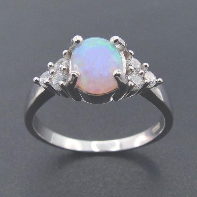 Venda quente 100% de Prata Esterlina 925 Mulheres Finas Jóias com Corte Oval Opal de Fogo Anéis para As Mulheres para a Festa
