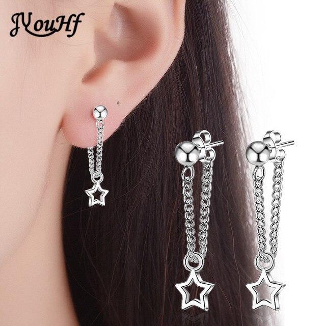 JYouHF Fashion Shiny Hollow Metal Star Earrings Bijoux Femme 925 Sterling Silver Earring Jewelry for Women Wedding Party Earings