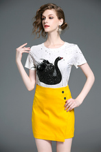 Nyár nyaklánc Női goose hímzés Sequins gyöngy póló női felsőrész tee divat alkalmi rövid ujjú póló fekete 623D