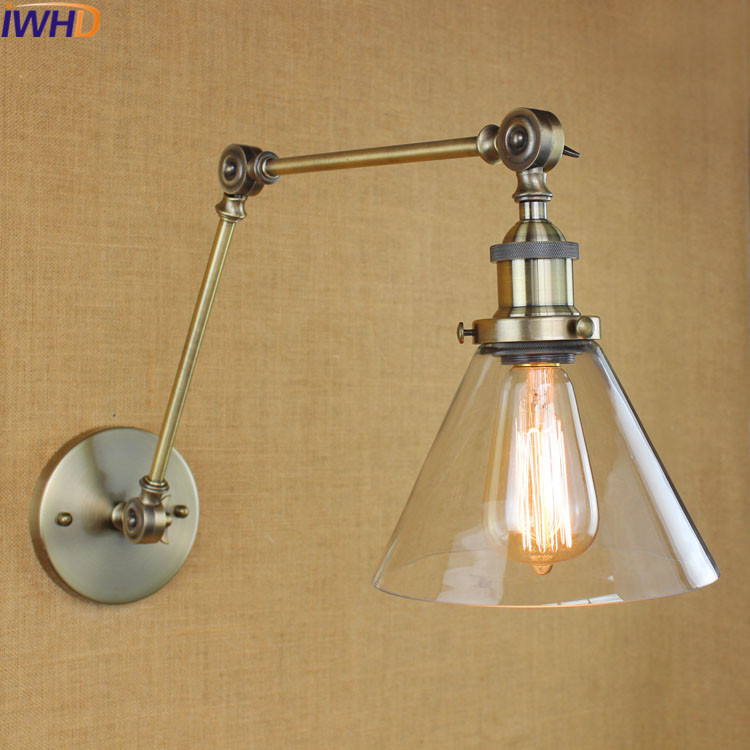 IWHD Swing Long Arm Wall Light Up Down Vintage Glass Wall Lamp Led  Bedroom Iron Wandlamp Home lighting Edison Bulb Light 67050 hanging on the support arm swing arm control arms factory swing