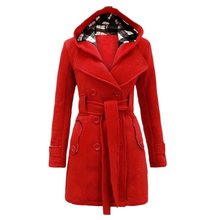 DSGS Women's Military Button Hooded Fleece Belted Jacket
