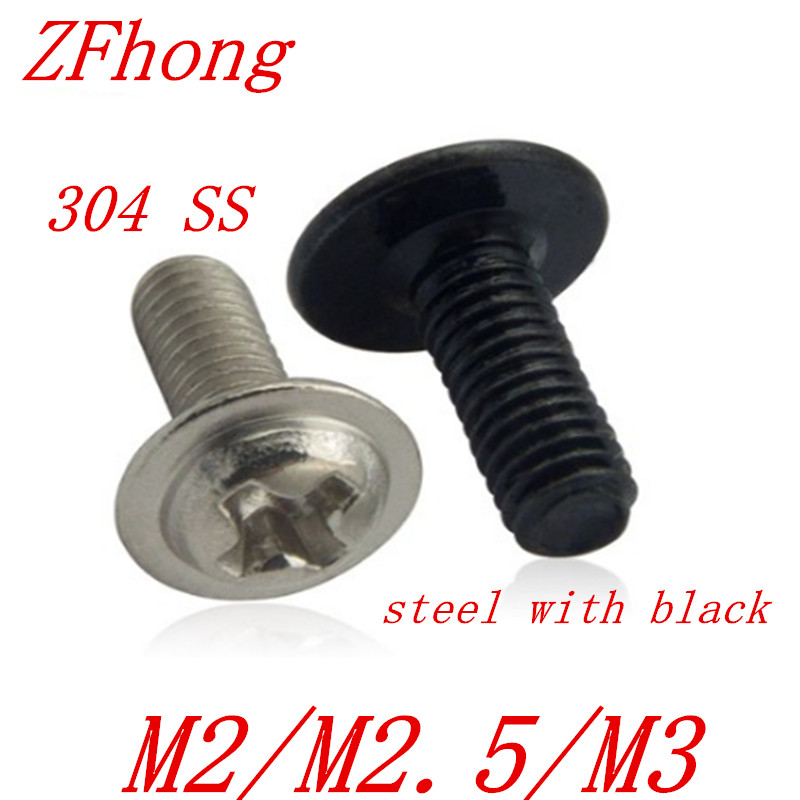 Pack of 50 M3 8mm Washer Round Head Screw Bolt Phillips