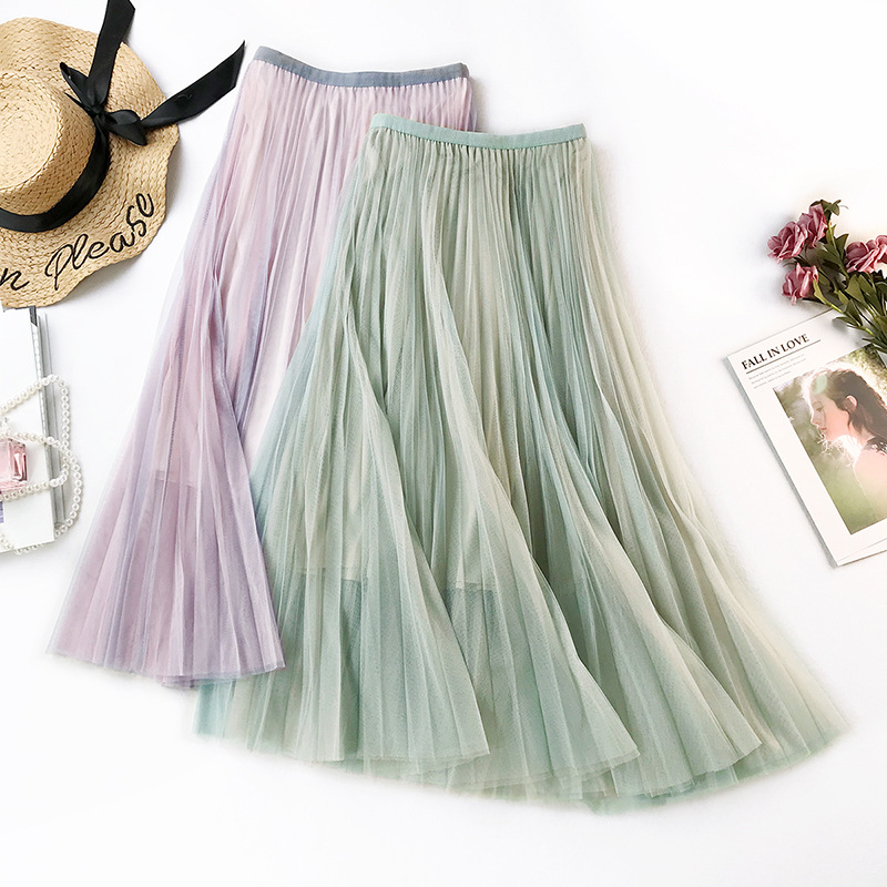 Wasteheart Purple Green Women Skirts High Waist Pleated Lace Mid-Calf Length Skirt Mesh Clothing Vintage A-Line Long Skirts