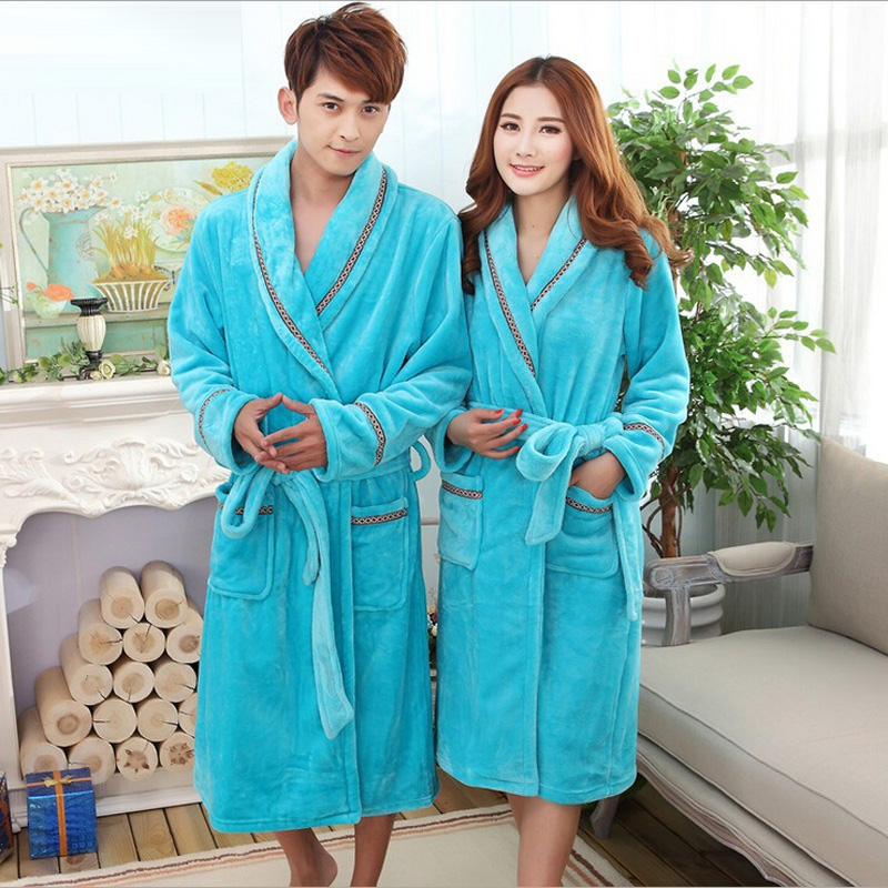 Winter Warm Coral Fleece Couples Bathrobes Kimono Flannel long Bath ...
