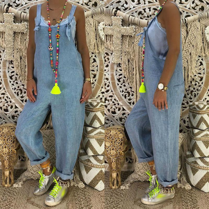 Jumpsuit Romper Jeans Overalls Plus-Size High-Street Fashion Denim Women Sleeveless Trousers