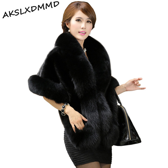 2016 New Haining Fox Fur Coat Cloak Skinny Imitation Mink Fur Shawl Female Clearance Special Offer Faux Fur Opera Cape LH563
