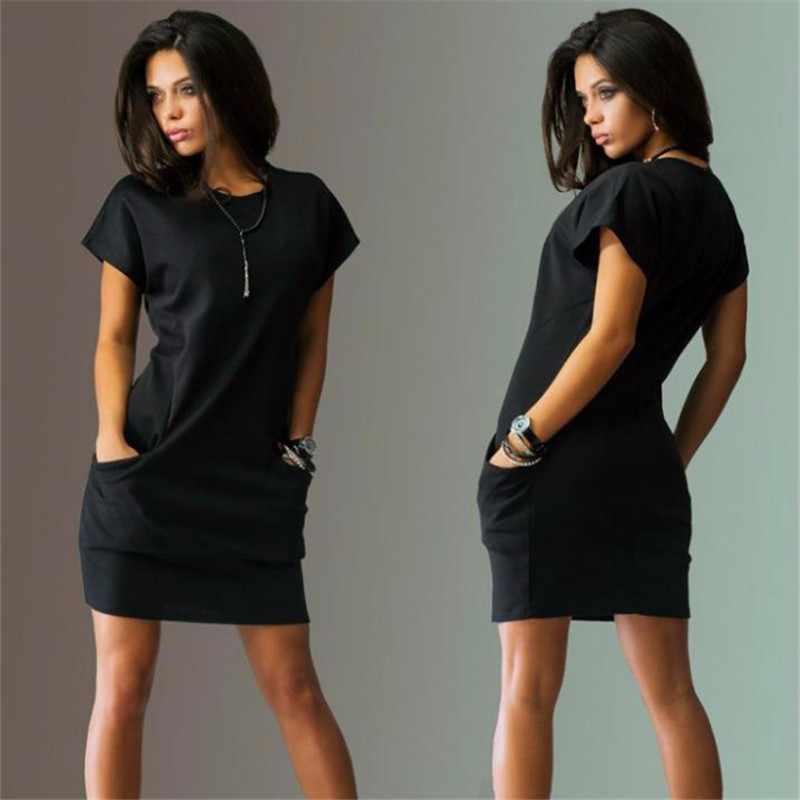 固体正式なオフィスドレス女性のためのポケット半袖ペンシルミニローブ黒赤 O-ネックプラスサイズ膝上 Vestidos -N