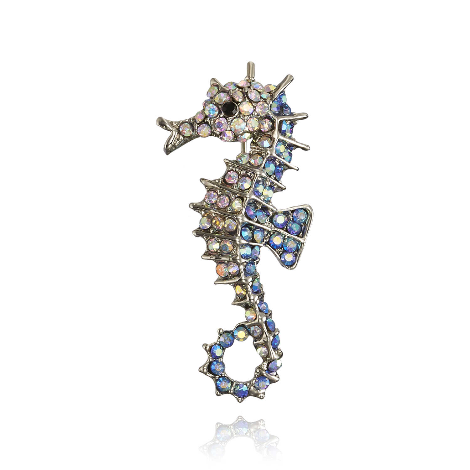 Animal Brooch Decoration Garment Corsage Rhinestones Red Blue Sea horse Swim hippocampus Brooches Women Men jewelry pins