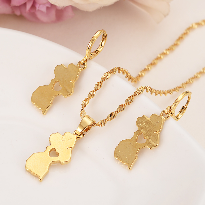 gold Guyana map Jewelry Sets Earring Necklace chain Jewelry Sets for Women girls souvenir wedding bridal gift