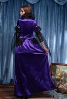 Summer Style New Free Shipping Purple Black Witch Dress Beautiful Fashion Female Dress Elegant Luxury Role