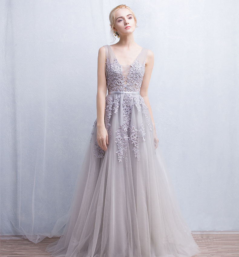 72bbe3dd7fe 2016 New Coming Double V Neck with Lace Appliques Long Tulle Girl Evening  Party Prom Dresses Pink Navy Blue Gray-in Evening Dresses from Weddings    Events ...