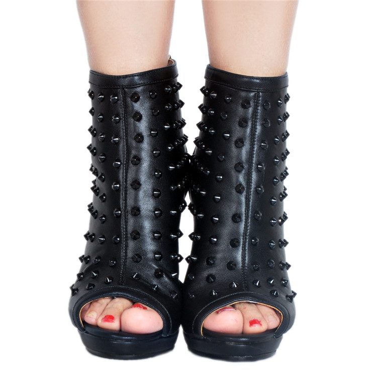 uu Verano Zapatos 15 Botines D0314 Mujeres Remaches Más Del Club Black 5 Ee Sexy Estilete Tacón Tamaño Peep Toe Negro Yifsion Plataforma pBa4cW4A