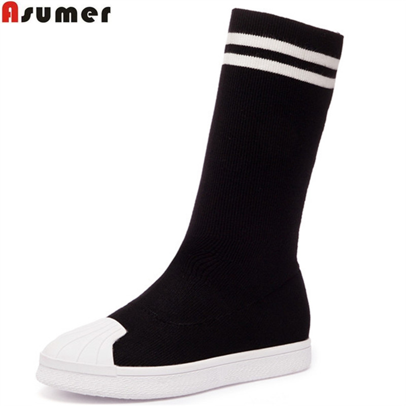 Asumer black fashion spring autumn flat shoes woman round toe casual mixed colors women boots comfortable ankle boots