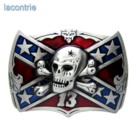 Lacontrie Hot Sale Mens Belt Buckle Fashion Star Flag Skull Metal Belt Buckle Suitable For 4cm