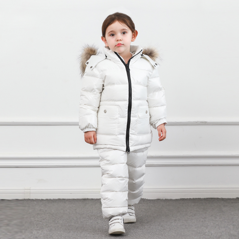 Image 3 - Winter Children Down Suit Long  Zipper Solid White Duck Down Boys Girls Down Jackets Thickening Jacket + Pants Two piece Clothes-in Clothing Sets from Mother & Kids