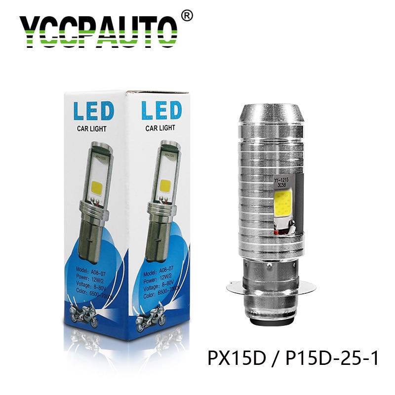YCCPAUTO 1Pcs Super Bright H6M P15D-25-1 PX15D LED Motorcycle Headlight Hi/Lo Beam 12W 1000LM COB Motorbike Head Fog Lamp Bulb