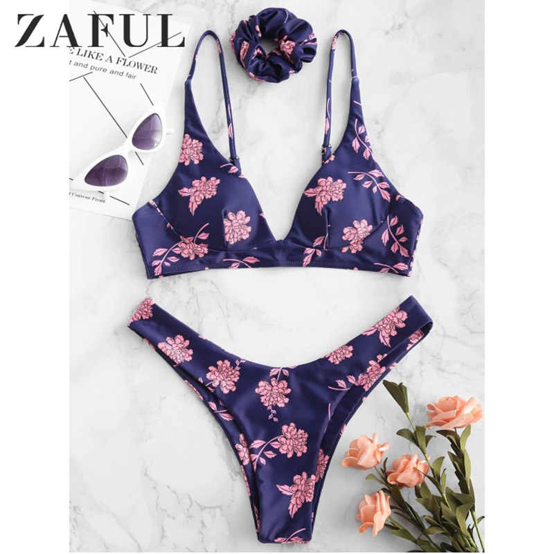 ZAFUL Newest Hot Low Waist Swimsuit Backless Women Swimwear Flower Bandeau Beach Bikini Bra Sets Monokini bikinis 2019 mujer
