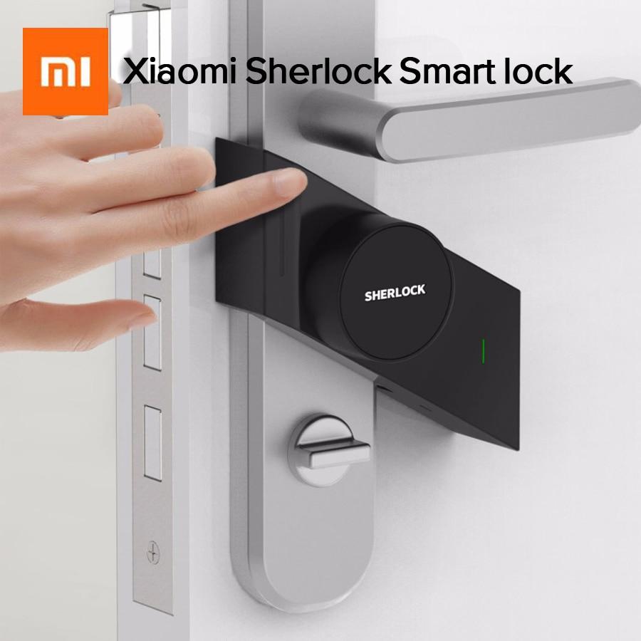 купить Newest Xiaomi Mijia Sherlock Smart Lock Keyless Fingerprint+Password Work M1 Mijia Smart Door Lock to Mi Home App Phone Control по цене 5557.44 рублей
