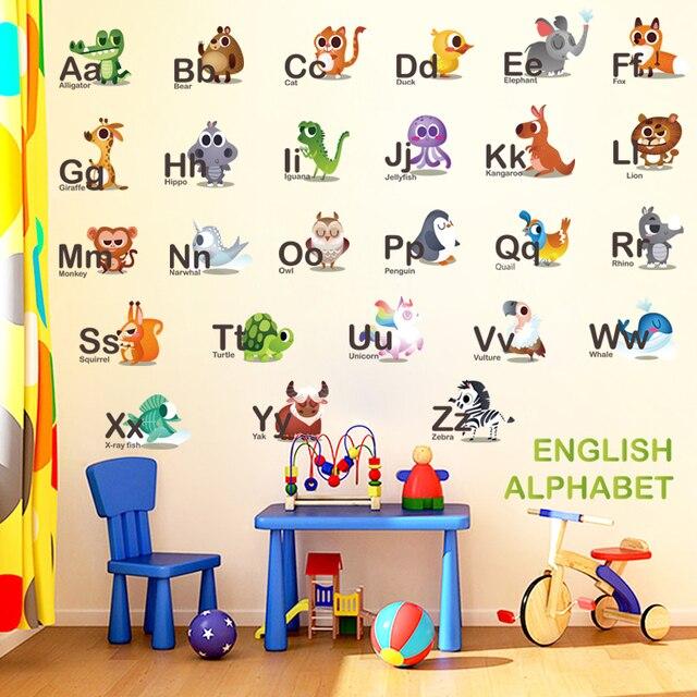 Alphabet Wall Stickers Bedroom Russia Cartoon Animals Letters Decor For Kids Room Baby Nursery School