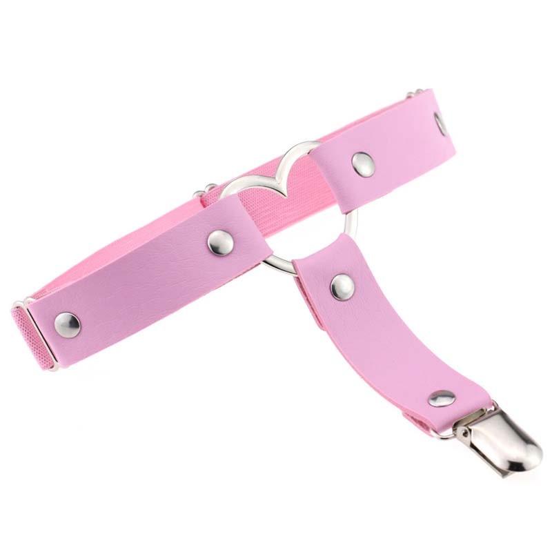 Women Punk Leg Ring Harajuku Thigh Harness Heart Garter Rock Pub Girl Garter Belt Adjustable Size For Women Cosplay leg loops in Garters from Underwear Sleepwears