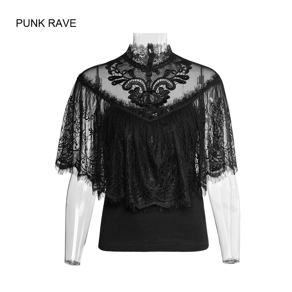 Punk Rave rétro mode femmes fille fête vêtements gothique dentelle haussement d'épaules châle T-shirt haut T455