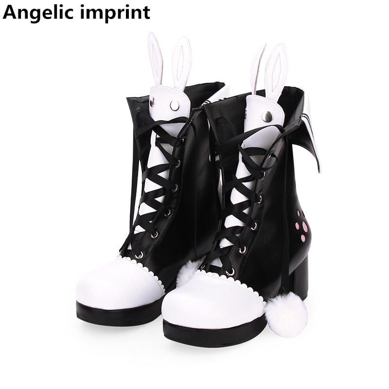 Angelic imprint mori girl Women punk boots lady lolita ankle Boots woman high heels pumps platform
