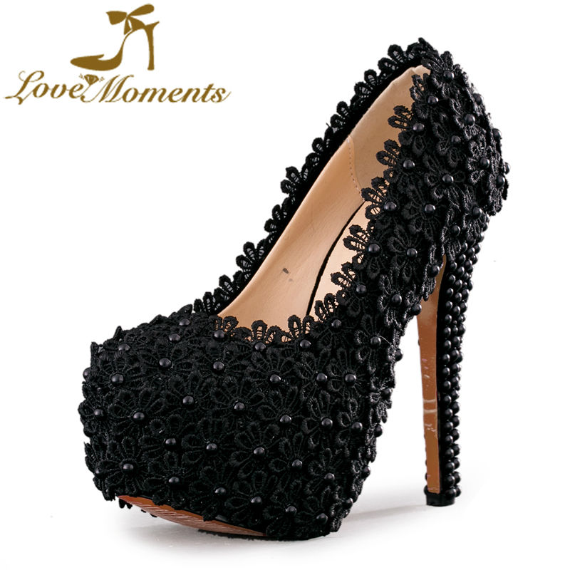 Love Moments black lace font b shoes b font woman sexy high heels wedding font b