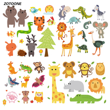 ZOTOONE Cute Cartoon Animal Set Iron on Transfer Patches for Clothing Beaded Applique T Shirt Clothes Decoration DIY Kids Gift G