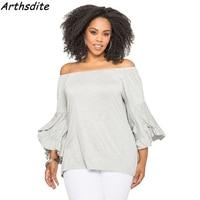 Summer Women Off Shoulder Slash Sleeve Shirts Sexy Tops Big Size Blouse Blusas Femininas Casual Plus