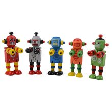 New 1Pc Kids Early Learning Toy Style Random Wooden Robot Toy Children Baby Learning Educational Toy Figures(China)