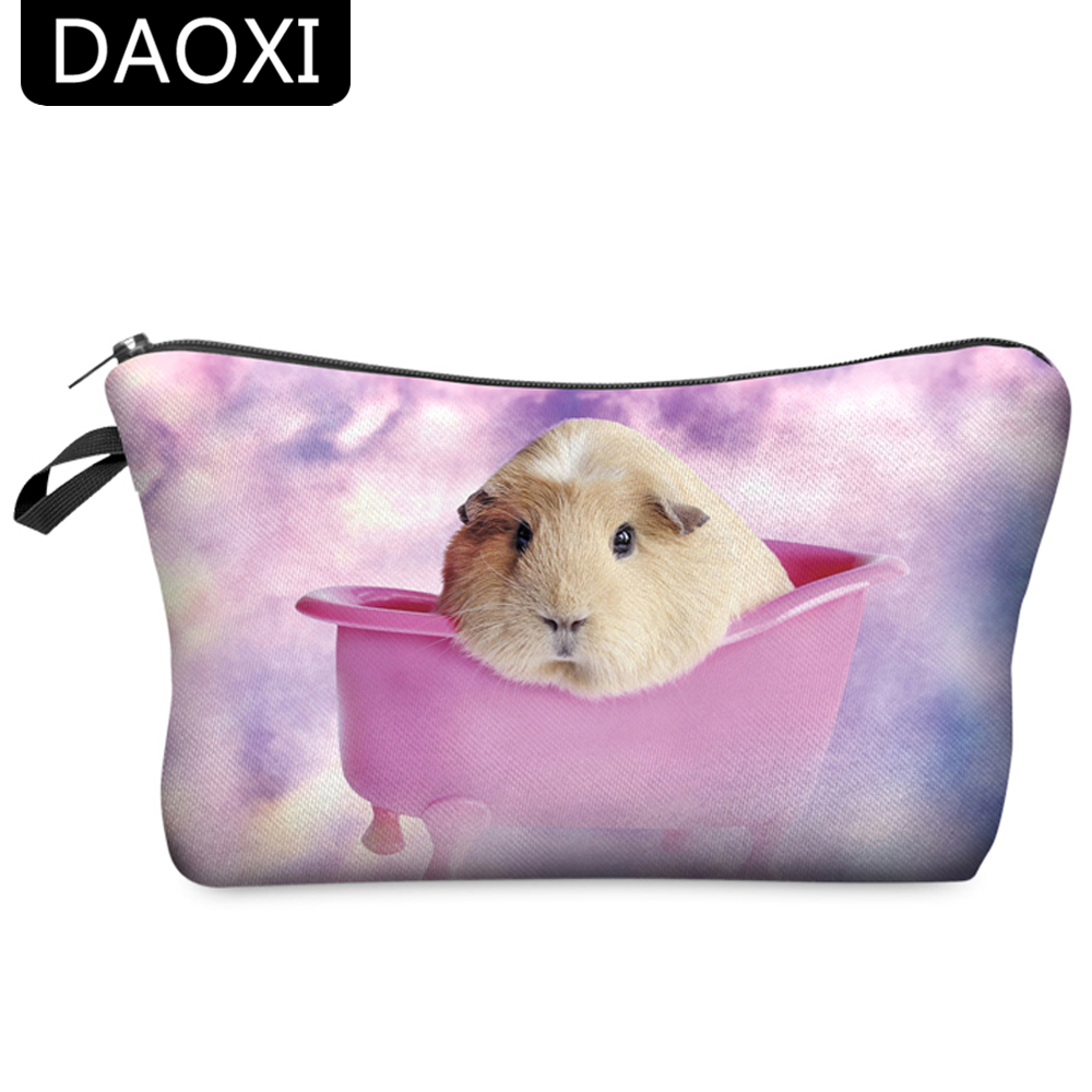 DAOXI Women Toiletry Bag 3D Animal Printing Portable Large Cosmetic Organizer Professional For Travelling Necessaries