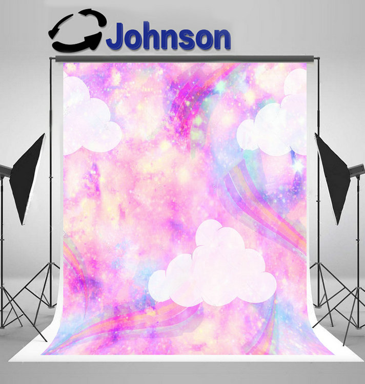Unicorn Galaxy Cloud Rainbow Repeat photo backdrop Vinyl cloth High quality Computer print party background