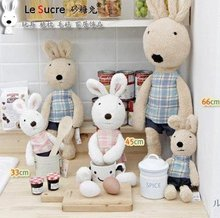 Le Sucre Sugar RABBIT,SG318 plaid fabric design 90CM,2 COLORS,stuffed dolls,Birthday,valentine's day gift,factroy wholesale