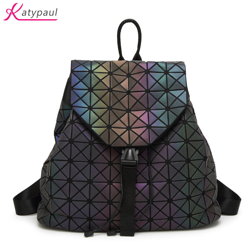 New Women Luminous Backpacks Fashion Girl Daily Backpack Geometry Package Sequins Folding Bags Brand Famous Student's School Bag 2017 new arrive famous brand designer women bling bling backpack fashion sequins backpack preppy style girl s school bags xa294b