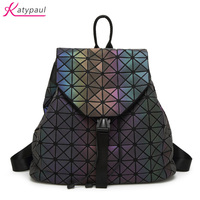 New Women Luminous Backpacks Fashion Girl Daily Backpack Geometry Package Sequins Folding Bags Brand Famous Student's School Bag