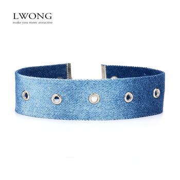 LWONG Fashion Blue Denim Chokers Jewellery Handmade Jeans Choker Necklace With Holes Statement Necklaces Chocker 2017 New Hot jewellery