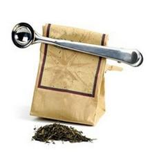 1 шт., 2 в 1, серебряная молотая кофейная мерная чайная лопатка из нержавеющей стали, ложка с мешочком, уплотнительный зажим для молотого чая, кофейная ложка